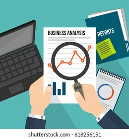 business concept infographic with Magnifying glass showing data analytics flat line design concept.