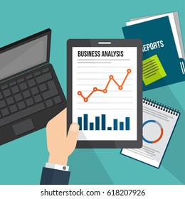 business concept infographic with tablet showing data analytics flat line design concept.
