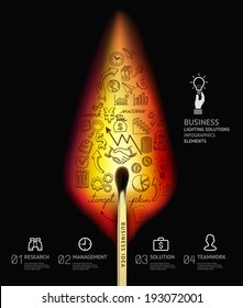 Business concept infographic template. Burning match and doodles icons set. Can be used for workflow layout, banner, diagram, web design.