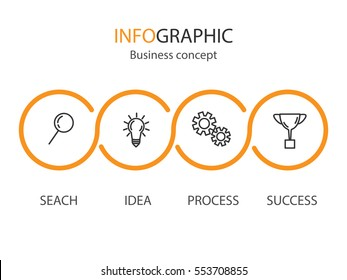 Business concept infographic template. Thinline icon set. Vector EPS 10