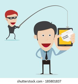 business concept of internet scam with phising