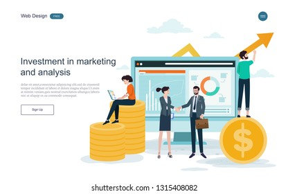 Business concept of investment.Business productivity return on investment, marketing and analysis,Business cooperation.Vector illustration.