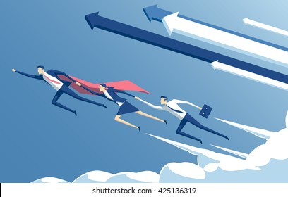 Business concept leadership and teamwork, vector illustration of business hero or superhero  flying through the cloud and help the team to succeed