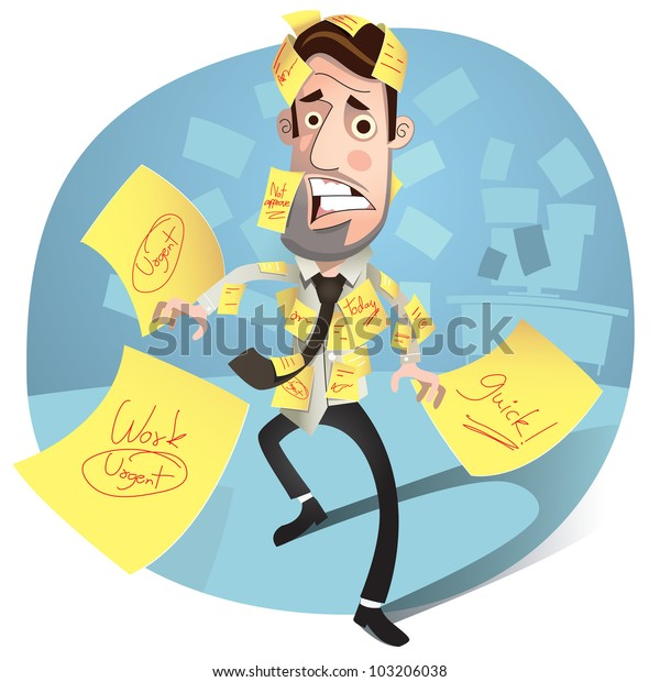 Business concept. Business man having a stress. worried and Headache. Vector Illustration