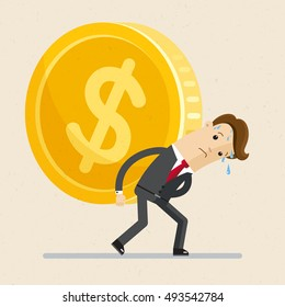 Business concept. Man in suit, businessman carrying big and heavy gold coin  on his back . Vector, illustration, flat