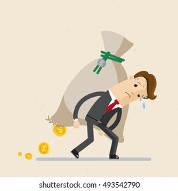 Business concept. Man in suit, businessman carrying  big and heavy money bag  on his back . Vector, illustration, flat