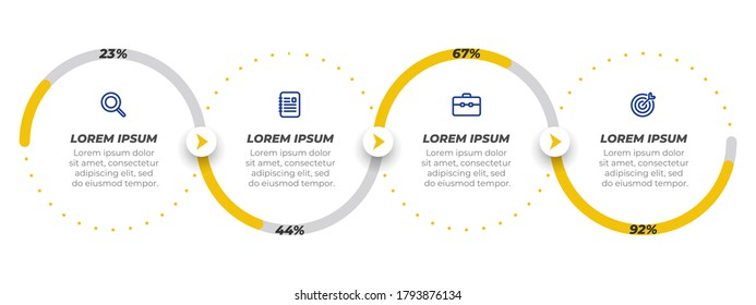 Business concept with marketing icons and design elements with circle. Timeline Infographic with 4 steps or options. Can be used for workflow diagram, presentations, info chart, web design.