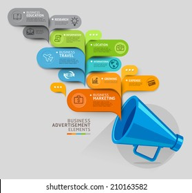 Business concept. Megaphone and bubble speech template. Vector illustration. can be used for workflow layout, diagram, number options, step up options, web design, banner template, infographic.