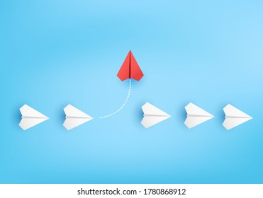 Business concept minimal as group of paper plane in one direction and with one individual pointing in different ways for innovative solution on 3D render vector. leadership for new ideas competition.