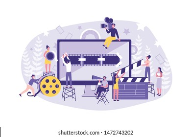 Business Concept Motion Design Studio. Teamwork of Clerks, Designer, Editor, Director on individual ontent. Businessmen Create and promote their own Trend. Cartoon flat Design, Isolated Vector