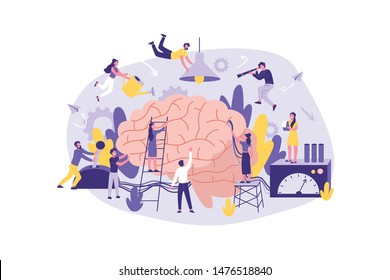 Business Concept Neuromarketing, Brainstorm. Group of Clerks in Information Search, Analysis, Support, at the Office. Teamwork of Businessmen Management. Cartoon flat Design, Isolated Vector