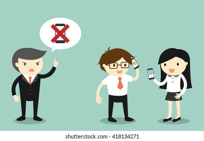 Business concept, Not using smartphone while working. Vector illustration.