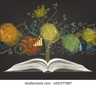 The business concept. On a black background, hand-drawn multicolored graphs and charts. Open book. Tree. Doodle. Handwriting. Colorful. Vector illustration.