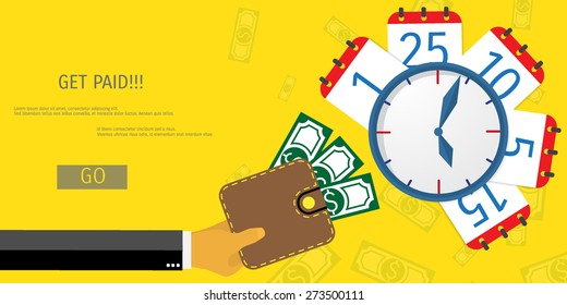 Business concept for online internet banking, finance investment, pay day, time is money.