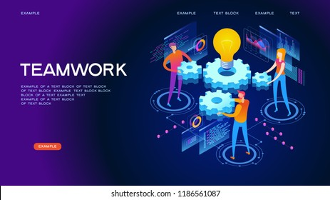 Business; concept. Page template of teamwork. Modern 3d isometric vector illustration of web page.  Design concept.