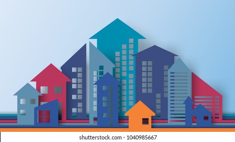 Business concept of paper art style.Cityscape building with arrows shape look like growing graph and charts.Vector illustration.