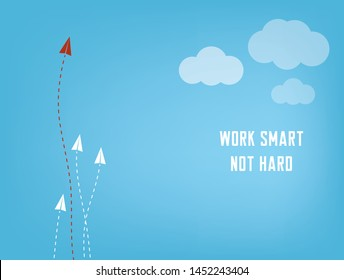 "Business concept paper planes competition with dashed lines - ""Work smart not hard"" infographic elements. Make the right decision and choose the right path to be the best."