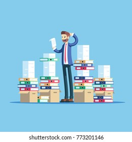 Business concept paperwork and overworked flat vector illustration. Confused businessman trying to make out with a lot of paperwork. Office worker standing between big piles of documents and folders