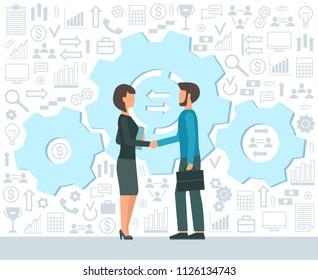 Business concept. Partnership. Handshake men and women. Flat design. Vector illustration.