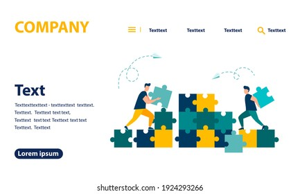 Business concept, people connecting puzzle pieces. Symbol of teamwork, cooperation, partnership. Vector isolated background. eps 10. web banner, mobile website, Landing Page Template.