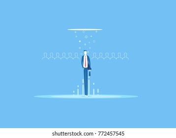 Business concept recruitment or headhunting flat vector illustration. Looking for talent. Businessman standing in spotlight or searchlight as a symbol selection from the many candidates