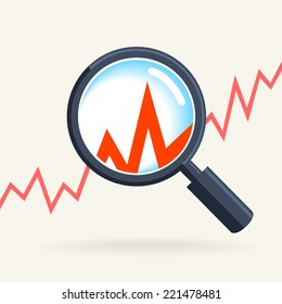 Business concept - retro magnifying glass, data analysis