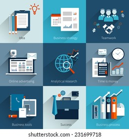 Business concept set with idea strategy teamwork online advertising isolated vector illustration