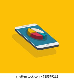 Business concept, smartphone with graph. Digital marketing media concept