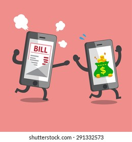 Business concept smartphone with money bag escaping from smartphone with bill payment