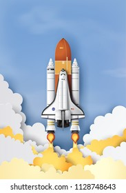 business concept space shuttle launch to the sky , Paper art and craft stlye.