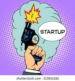 business concept startup starting pistol retro style pop art