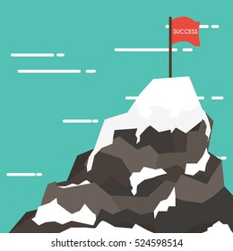 Business concept  success and mission. Red flag on a Mountain peak.Flat style.