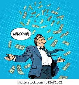 The business concept of successful businessman on money rolls in. Finance wealth profit. Retro style pop art
