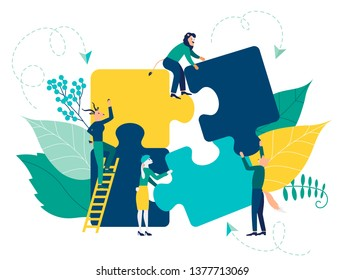 Business concept symbol of teamwork, cooperation, partnership. Team metaphor flat design style. people connecting puzzle elements vector illustration