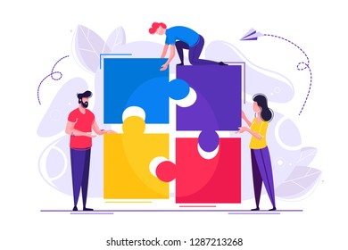 Business concept. Team metaphor. people connecting puzzle elements. Vector illustration flat design style. Symbol of teamwork, cooperation, partnership Startup employees. Goal thinking, infographic of
