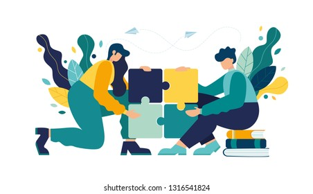 Business concept. Team metaphor. people connecting puzzle elements. Vector illustration flat design style. Symbol of teamwork, cooperation, partnership. - Vector
