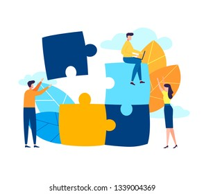 Business concept. Team metaphor. people connecting puzzle elements. Vector illustration flat design cartoon style. Symbol of teamwork, cooperation, partnership
