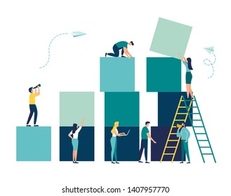 Business concept. Team metaphor. people connecting the elements of the columns. Vector illustration flat design style. Symbol of teamwork, cooperation, partnership. - Vector