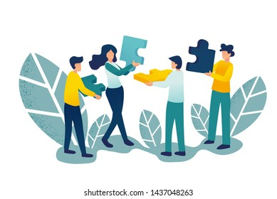 Business concept. Team metaphor. people connecting puzzle elements. Vector illustration flat Gradient design style. Symbol of teamwork, cooperation, partnership.