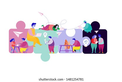 Business concept. Team metaphor. people connecting puzzle elements. Vector illustration flat design style. Symbol of teamwork, cooperation, partnership.