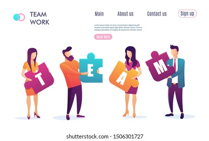 Business concept. Team metaphor. people connecting puzzle elements. Flat design colorful style. Symbol of teamwork, cooperation, partnership. Vector illustration