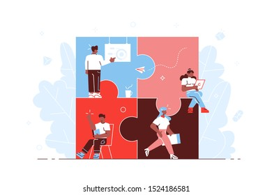 Business concept. Team metaphor. people connecting puzzle elements. Vector illustration flat design style. Symbol of teamwork, cooperation, partnership for web page, social media, documents. Vector