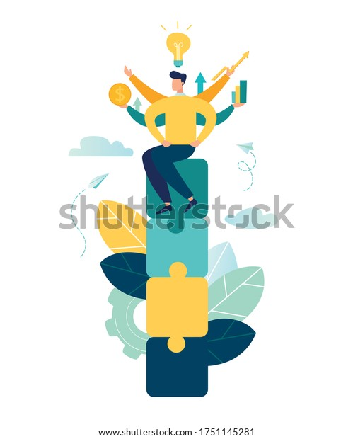 Business concept. Team metaphor. people connecting puzzle elements. Vector illustration flat design style. Symbol of teamwork, cooperation, partnership vector
