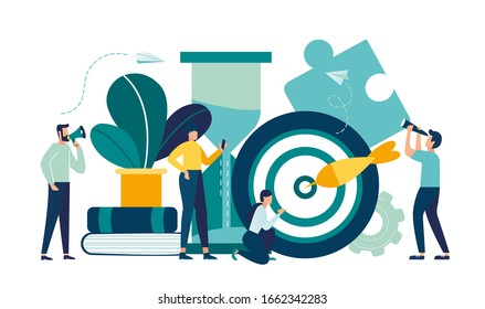 Business concept. Team metaphor. Vector illustration flat design style Symbol of teamwork, cooperation, partnership, business promotion and development vector