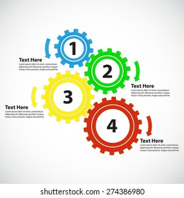 Business Concept / Teamwork - 4 Bright Gearwheels with Arrows, Vector Infographic