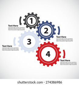 Business Concept / Teamwork - 4 Gearwheels with Arrows, Vector Infographic