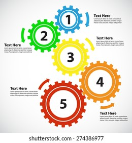Business Concept / Teamwork - 5 Bright Gearwheels with Arrows, Vector Infographic