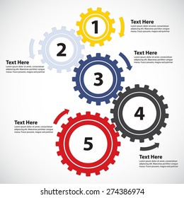 Business Concept / Teamwork - 5 Gearwheels with Arrows, Vector Infographic