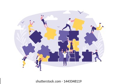 Business Concept of Teamwork, Coworking, Crowdfunding, Cooperation and Collaboration. People Team Connecting Jigsaw Puzzle Elements. Cartoon flat Design, Isolated Vector Illustration.