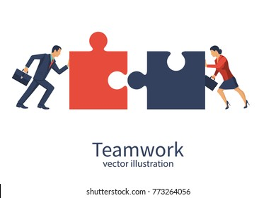 Business concept. Teamwork metaphor. Businessman and businesswoman connecting puzzle elements. Vector illustration flat style design. Combining two pieces. Working together, cooperation, partnership.